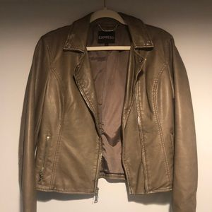 Express Faux Leather Jacket Taupe